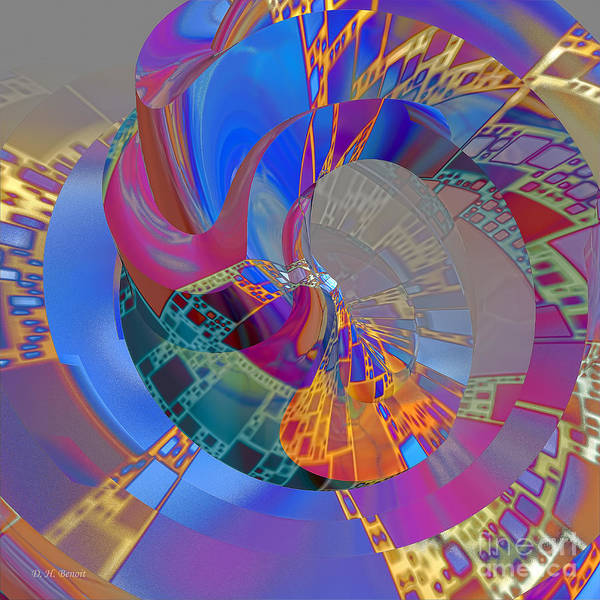 Abstract Print featuring the digital art Into The Inner World by Deborah Benoit