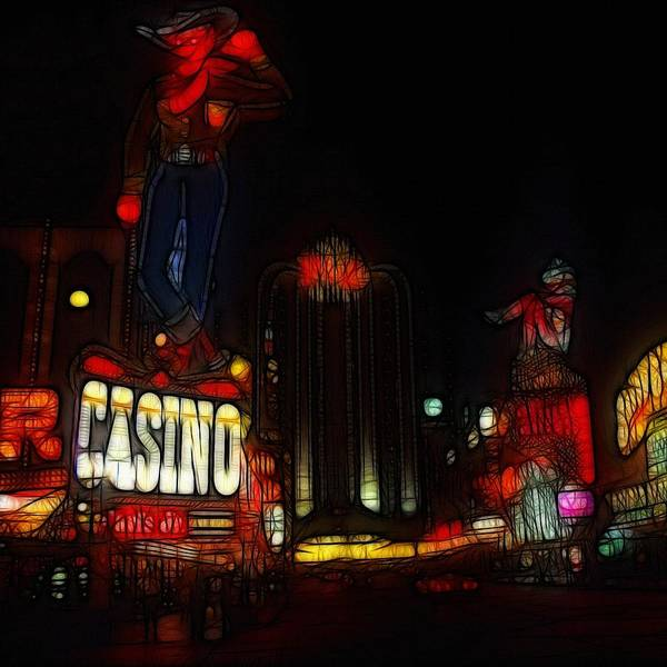 Las Vegas Casino Cowboy Neon Light Lights Painting Abstract Night Amusement Hotel Print featuring the painting Lets Play by Steve K