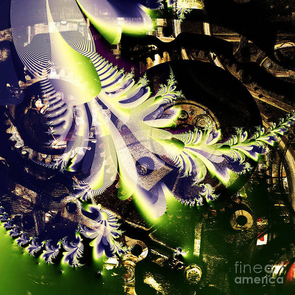 Fractal Print featuring the digital art Steampunk Abstract Fractal . Square . S2 by Wingsdomain Art and Photography