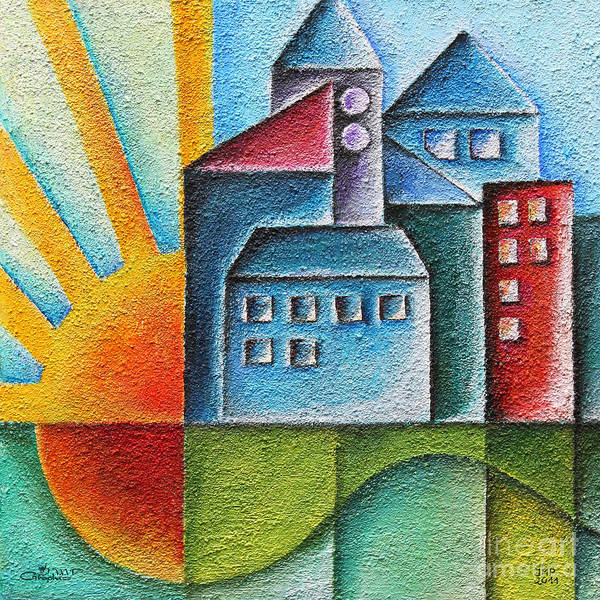 Paint Print featuring the painting Sunny Town by Jutta Maria Pusl