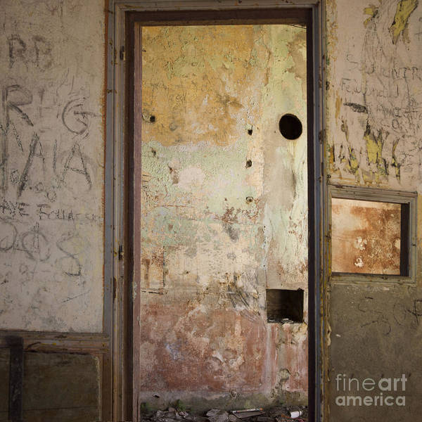 Indoors Print featuring the photograph Walls With Graffiti In An Abandoned House. by Bernard Jaubert