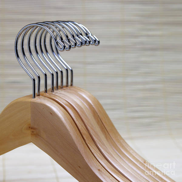 Close Up Print featuring the photograph Wooden Clothes Hangers by Skip Nall