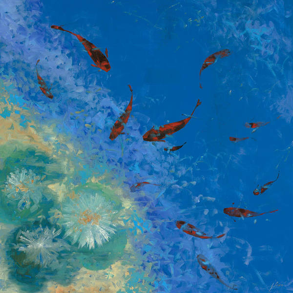 Fishscape Print featuring the painting 13 Pesciolini Rossi by Guido Borelli