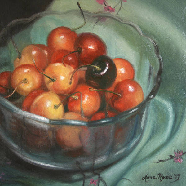 Cherries Print featuring the painting Bing Different by Anna Rose Bain