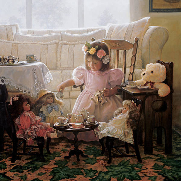 Girl Print featuring the painting Cream And Sugar by Greg Olsen