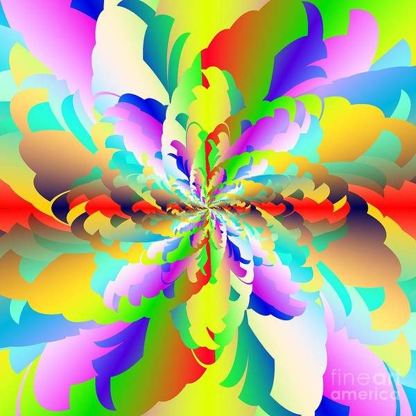 Flamboyant Fractal Fire Flower Print featuring the digital art Flamboyant Fractal Fire Flower by Michael Skinner