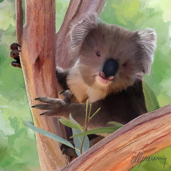 Koala Print featuring the painting Koala Painting by Michael Greenaway