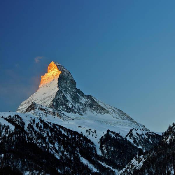 Square Print featuring the photograph Matterhorn Switzerland Sunrise by Maria Swärd