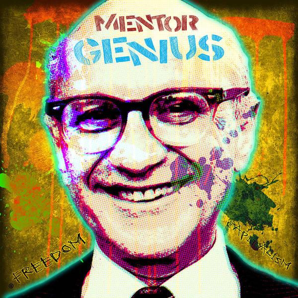 Pop Art Print featuring the digital art Milton Friedman by Gary Grayson