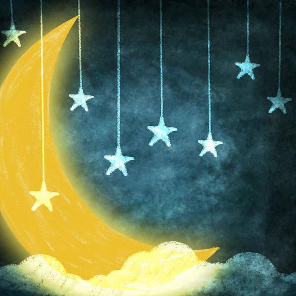 Art Print featuring the painting Moon And Stars by Setsiri Silapasuwanchai