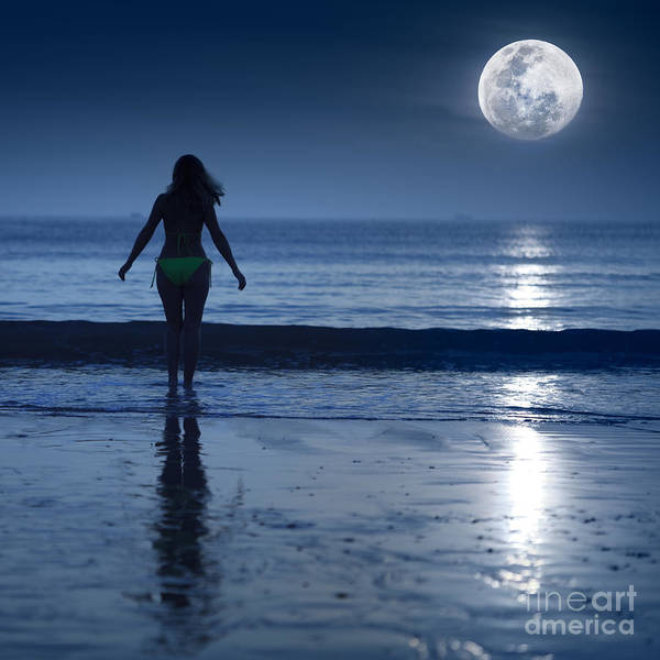 Moon Print featuring the photograph Moonlight by MotHaiBaPhoto Prints