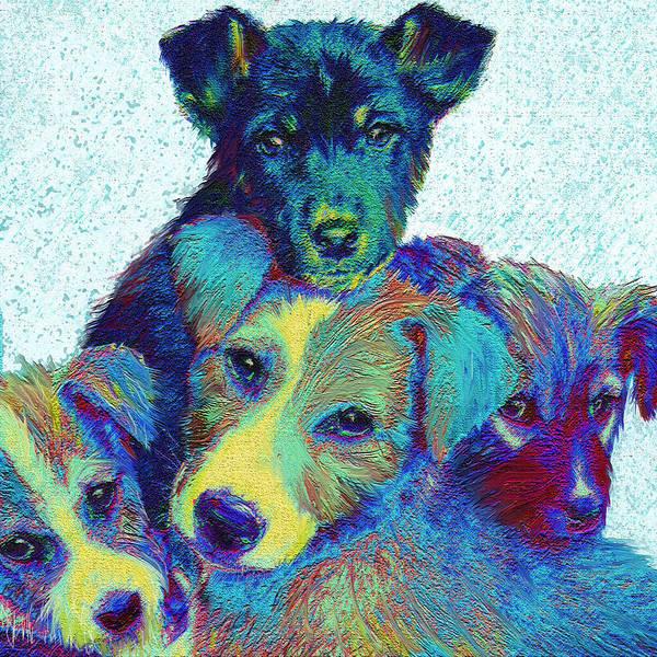 Puppies Print featuring the digital art Pound Puppies by Jane Schnetlage