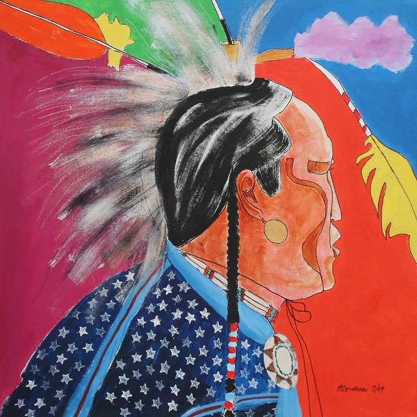 Native American Print featuring the painting Pow Wow by Mordecai Colodner