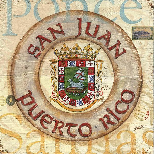 San Juan Print featuring the painting Puerto Rico Coat Of Arms by Debbie DeWitt