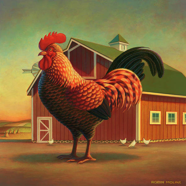 Rooster Print featuring the painting Rooster And The Barn by Robin Moline