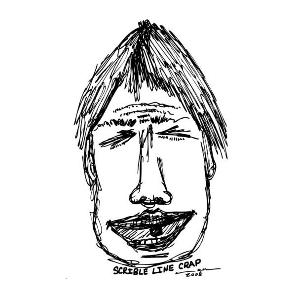 Drawing Print featuring the drawing Scribble Line Face by Karl Addison
