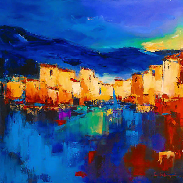 Cinque Terre Print featuring the painting Sunset Over The Village by Elise Palmigiani