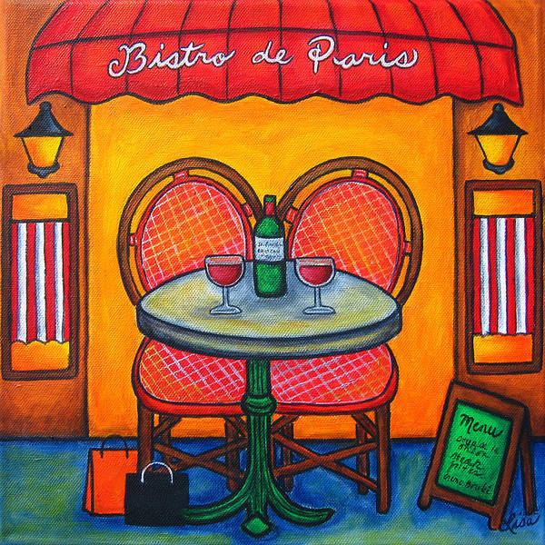 Paris Print featuring the painting Table For Two In Paris by Lisa Lorenz