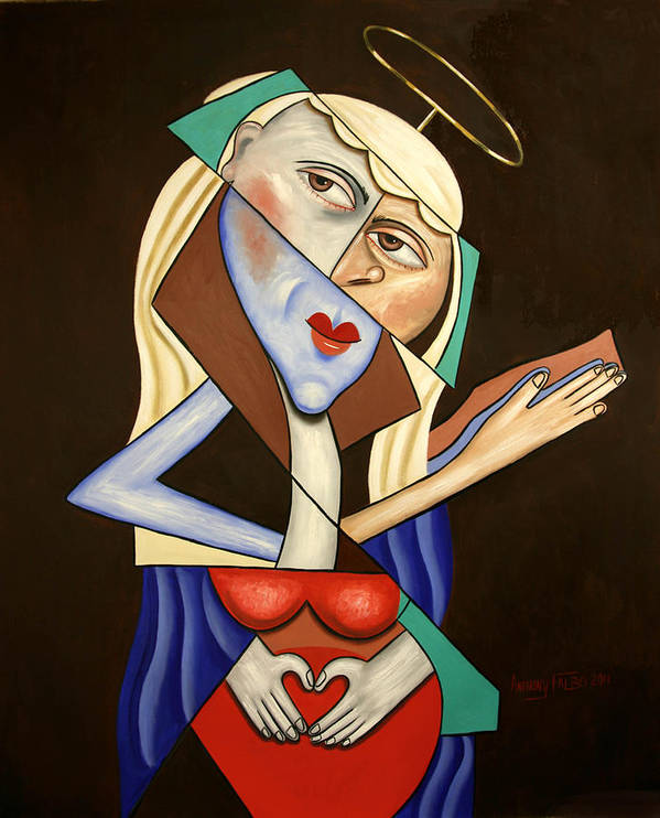 Mother Mary Print featuring the painting Mother Mary by Anthony Falbo