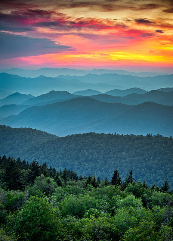 Blue Ridge Parkway Print featuring the photograph Blue Ridge Parkway Sunset - The Great Blue Yonder by Dave Allen