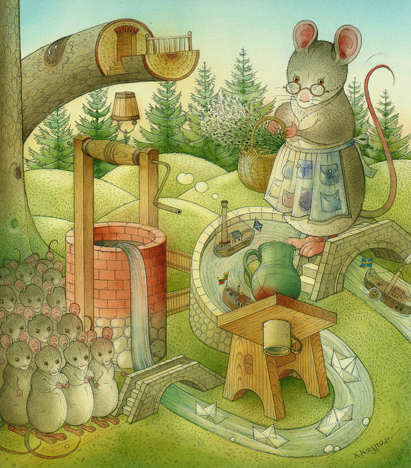 Landscape Print featuring the painting Wrong World by Kestutis Kasparavicius