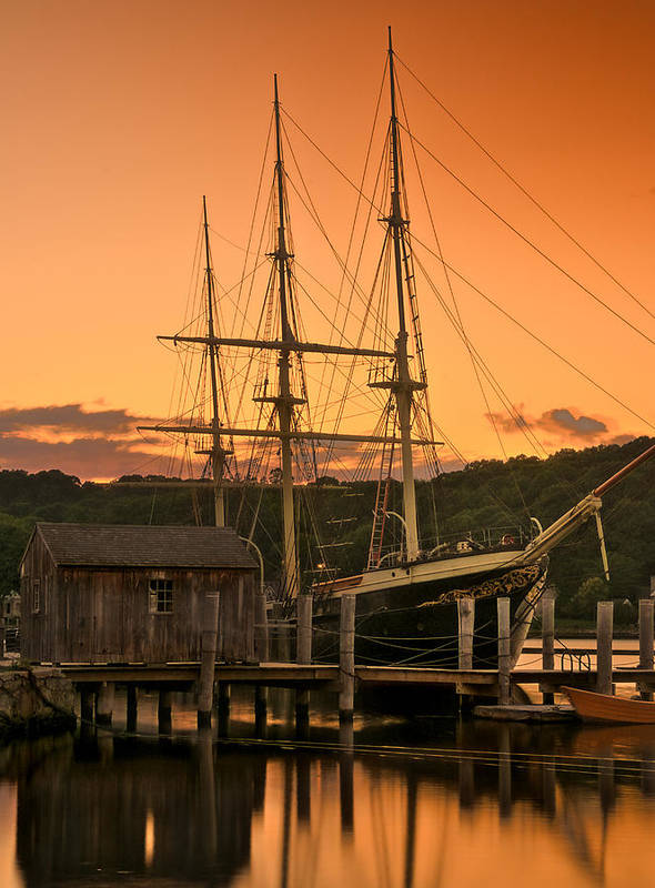 Shoreline Print featuring the photograph Mystic Seaport Sunset-joseph Conrad Tallship 1882 by Thomas Schoeller