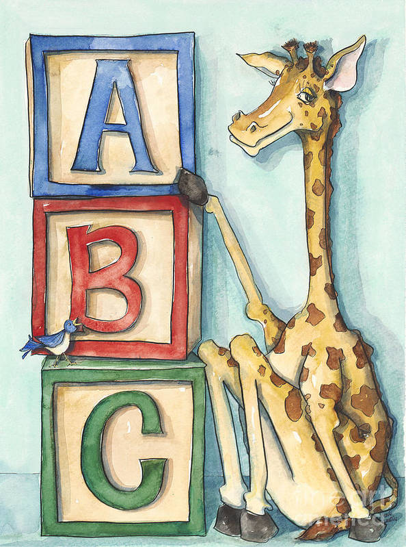 Children's Art Print featuring the painting Abc Blocks - Giraffe by Annie Laurie