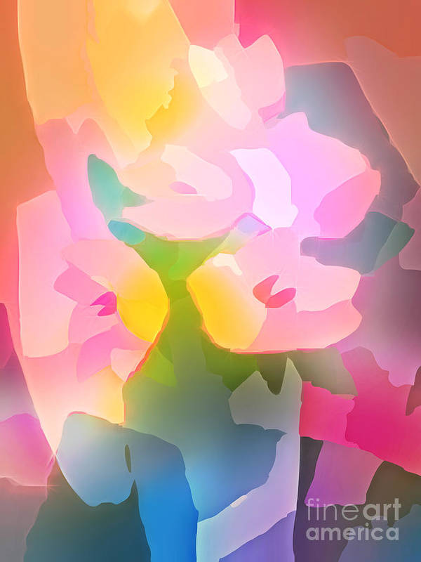 Flower Deco Print featuring the digital art Flower Deco IIi by Lutz Baar