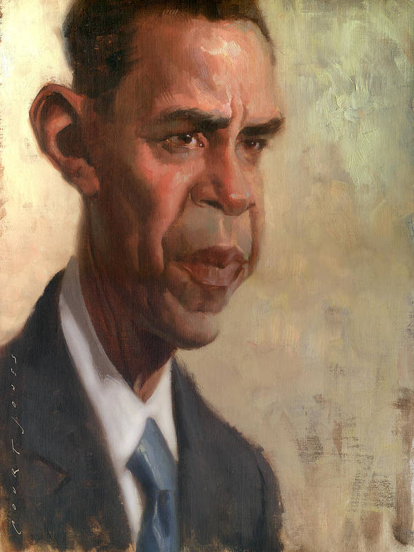 Barack Obama Print featuring the painting Obama by Court Jones