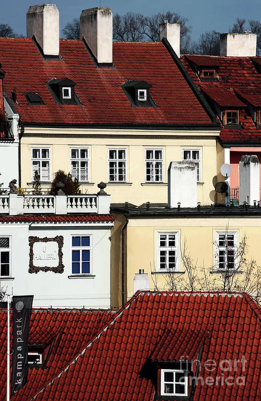 Prague Houses Print featuring the photograph Prague Houses by John Rizzuto