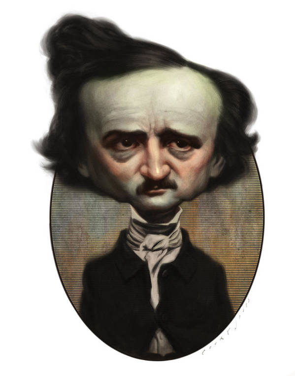 Caricature Print featuring the painting Edgar Allan Poe by Court Jones