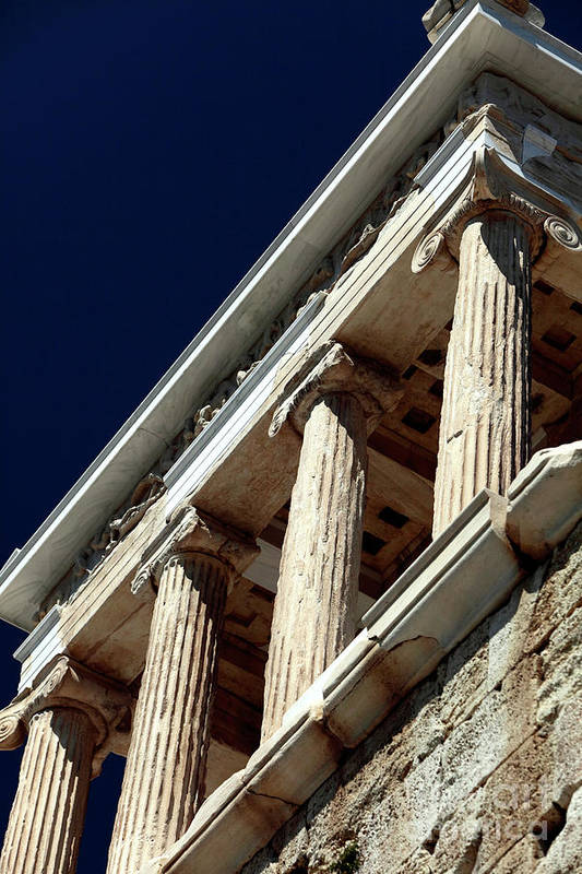 Temple Of Athena Nike Columns Print featuring the photograph Temple Of Athena Nike Columns by John Rizzuto