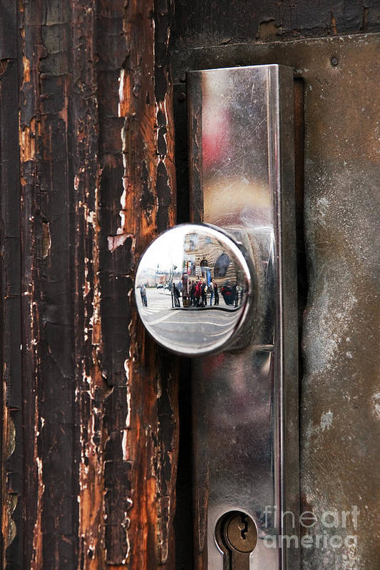 Door Reflections Print featuring the photograph Door Reflections by John Rizzuto