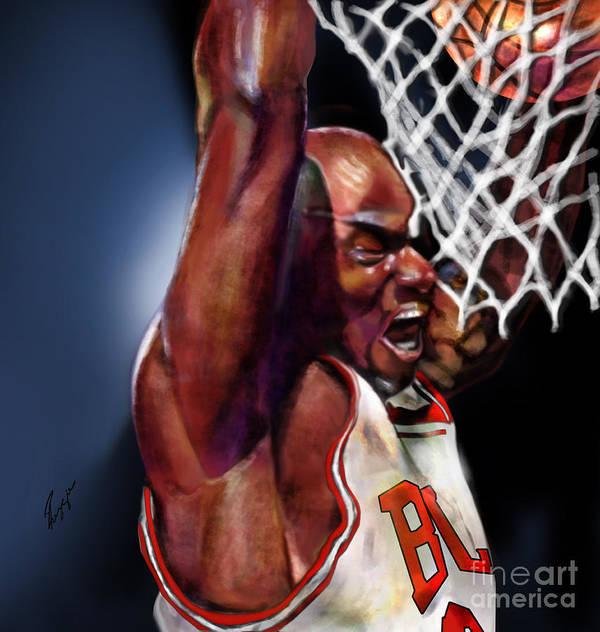 Michael Jordan Print featuring the painting Eclipsing The Moon - Jordan by Reggie Duffie