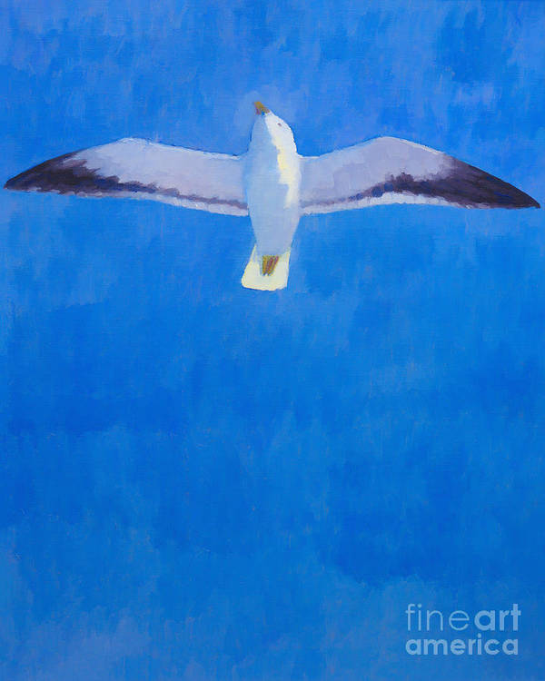 Freedom Print featuring the painting Flying Seagull by Lutz Baar