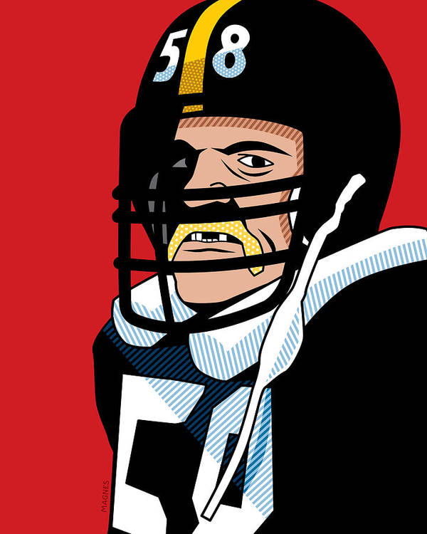 Graphic Print featuring the digital art Jack Lambert by Ron Magnes