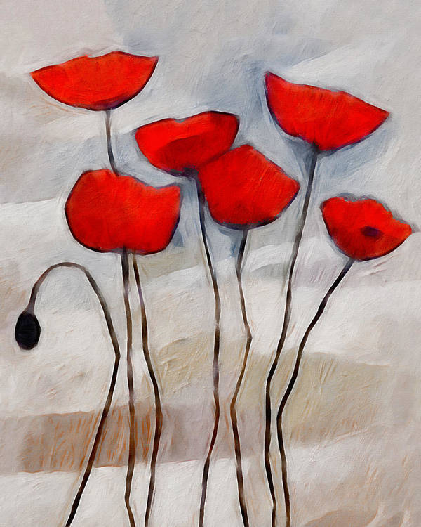 Poppies Print featuring the painting Poppies Painting by Lutz Baar