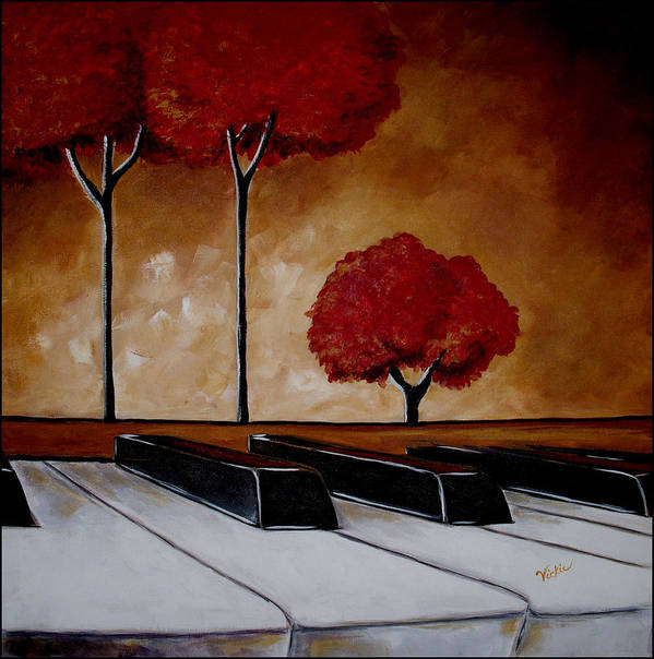 Piano Print featuring the painting The Piano Man's Dream by Vickie Warner