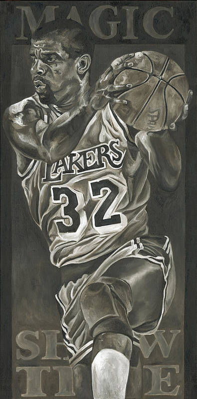 Magic Johnson Print featuring the painting Magic Johnson - Legends Series by David Courson