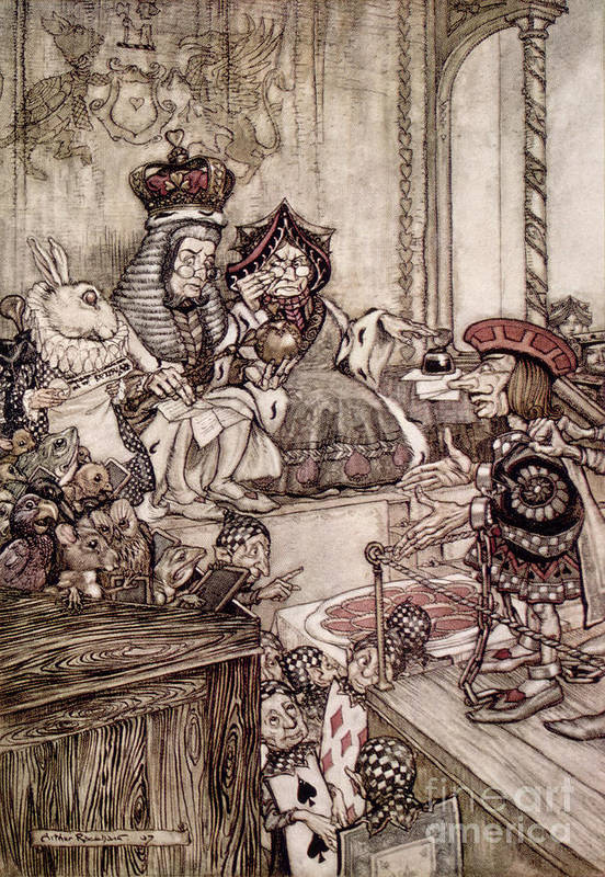 Court; Dock; Judge; Trial; White Rabbit; Jam Tarts; Alice Print featuring the drawing Knave Before The King And Queen Of Hearts Illustration To Alice S Adventures In Wonderland by Arthur Rackham
