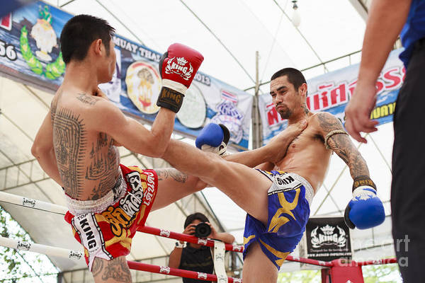 Muay Print featuring the photograph Thai Boxing Match by Anek Suwannaphoom