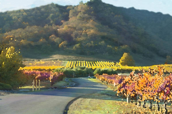 Corde Valle San Martin Ca Print featuring the painting The Hills Of Clos La Chance Winery by Artist and Photographer Laura Wrede