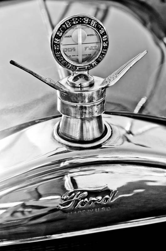 1923 Ford Model T Print featuring the photograph 1923 Ford Model T Hood Ornament by Jill Reger