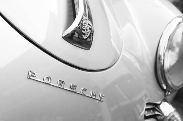 1960 Porsche 356 B 1600 Super Roadster Hood Emblem Print featuring the photograph 1960 Porsche 356 B 1600 Super Roadster Hood Emblem by Jill Reger