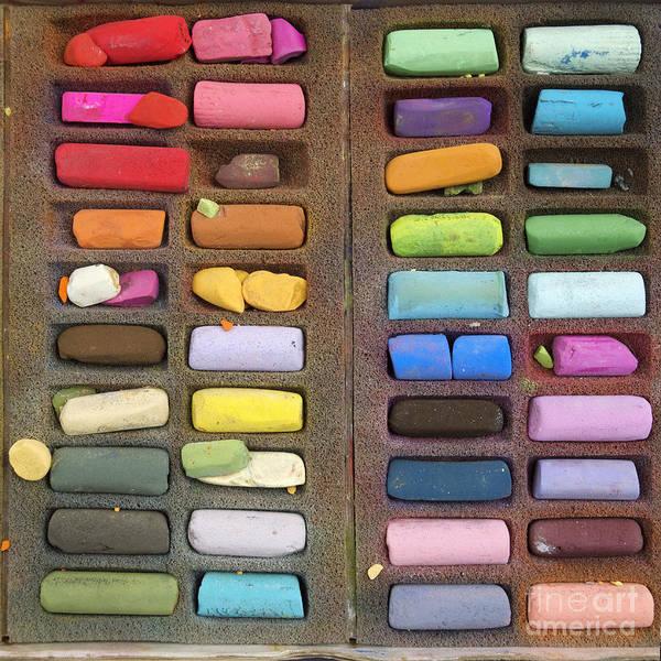 Indoors Print featuring the photograph Box Of Pastels by Bernard Jaubert