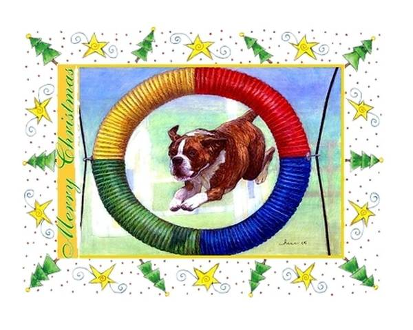 Boxer Dog Christmas Print featuring the drawing Boxer Dog Christmas by Olde Time Mercantile