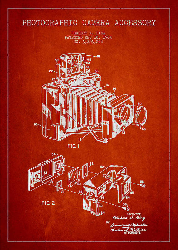 Camera Print featuring the drawing Camera Patent Drawing From 1963 by Aged Pixel