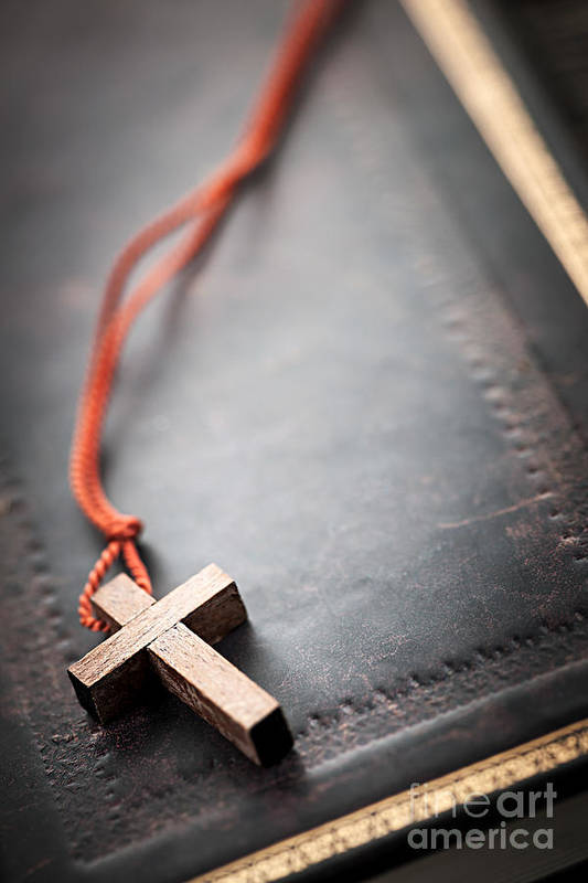 Cross Print featuring the photograph Christian Cross On Bible by Elena Elisseeva