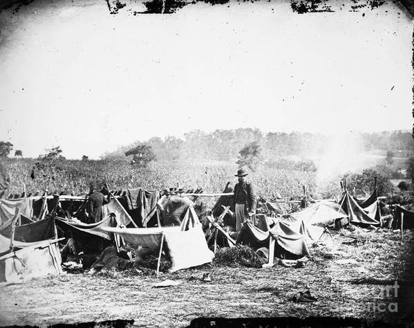 1862 Print featuring the photograph Civil War: Wounded, 1862 by Granger