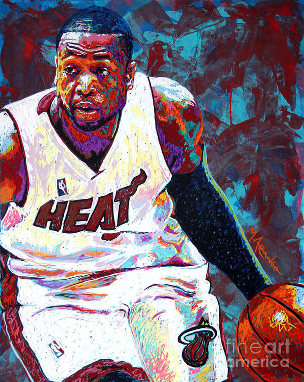 Dwyane Wade Print featuring the painting D. Wade by Maria Arango